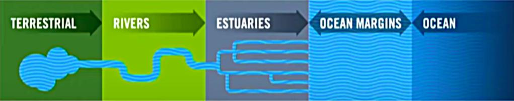 Stylised depiction of a five-part system: terrestrial, rivers, estuaries, ocean margins, and ocean
